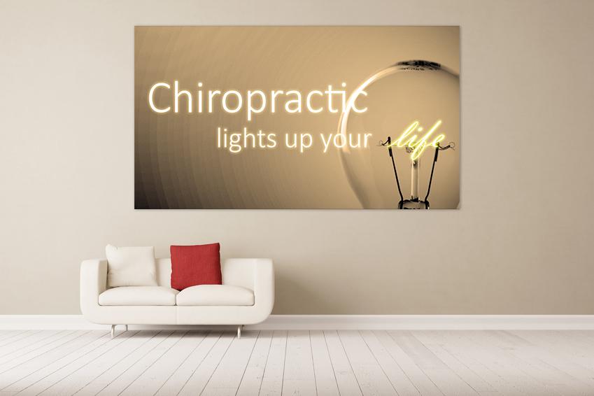 Leinwand mit chiropraktischen Spruch prefekt für jede Praxis