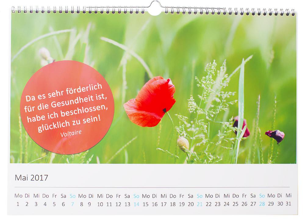 Kalender mit gesundheitlichen Zitaten